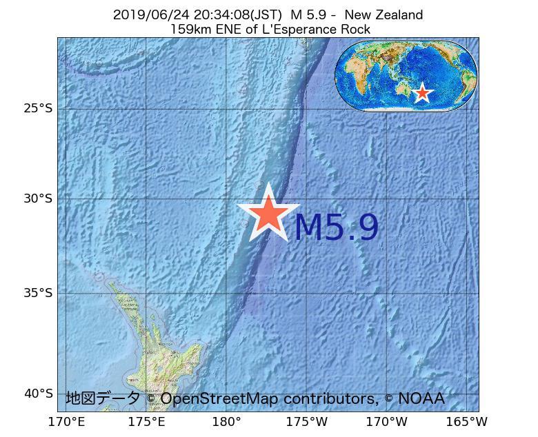 2019年06月24日 20時34分 - ニュージーランドでM5.9