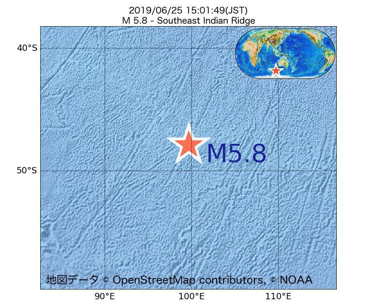 2019年06月25日 15時01分 - 南東インド洋海嶺でM5.8
