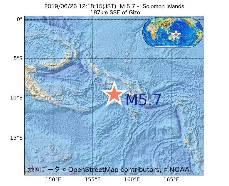 2019年06月26日 12時18分 - ソロモン諸島でM5.7