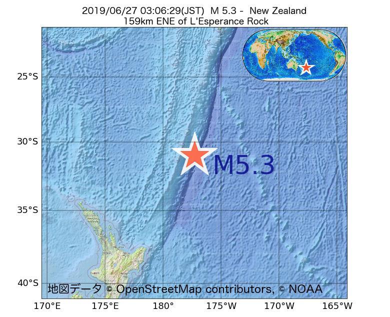 2019年06月27日 03時06分 - ニュージーランドでM5.3