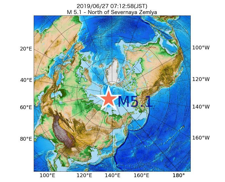 2019年06月27日 07時12分 - セヴェルナヤ・ゼムリャ諸島の北でM5.1