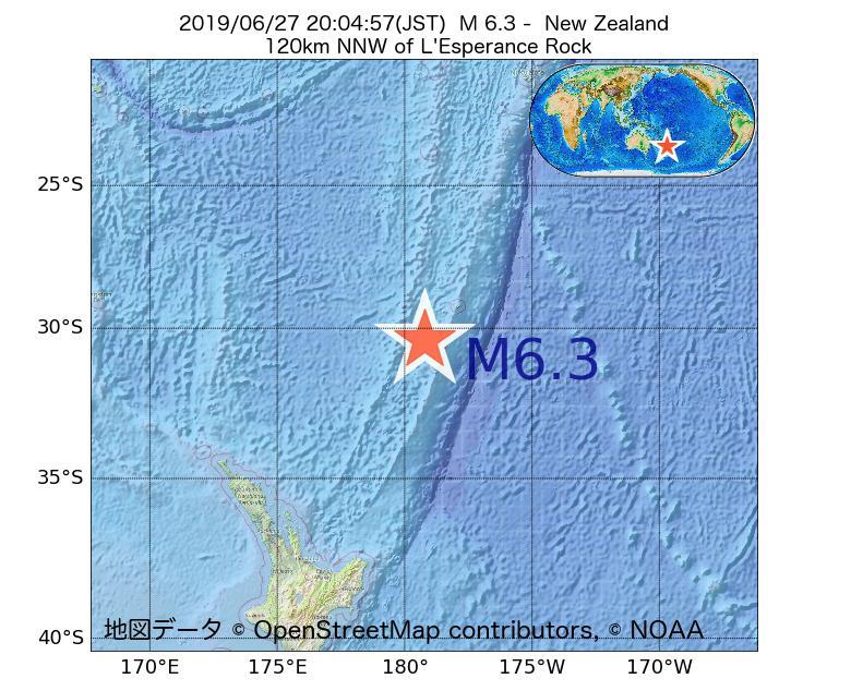 2019年06月27日 20時04分 - ニュージーランドでM6.3