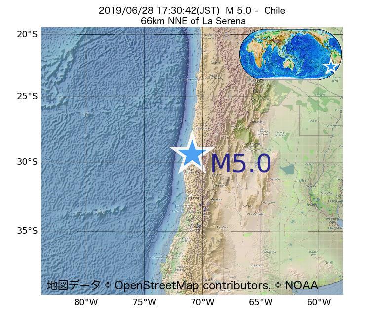 2019年06月28日 17時30分 - チリでM5.0