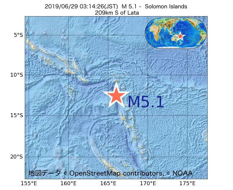 2019年06月29日 03時14分 - ソロモン諸島でM5.1