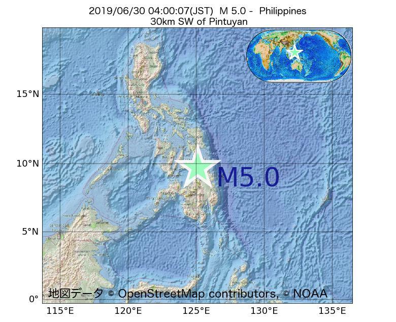 2019年06月30日 04時00分 - フィリピンでM5.0