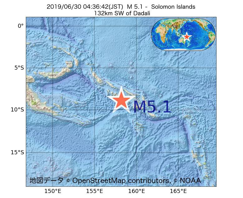 2019年06月30日 04時36分 - ソロモン諸島でM5.1
