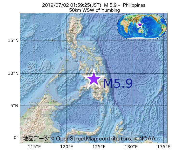 2019年07月02日 01時59分 - フィリピンでM5.9