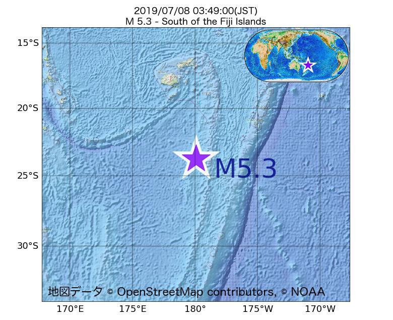 2019年07月08日 03時49分 - フィジー諸島の南でM5.3