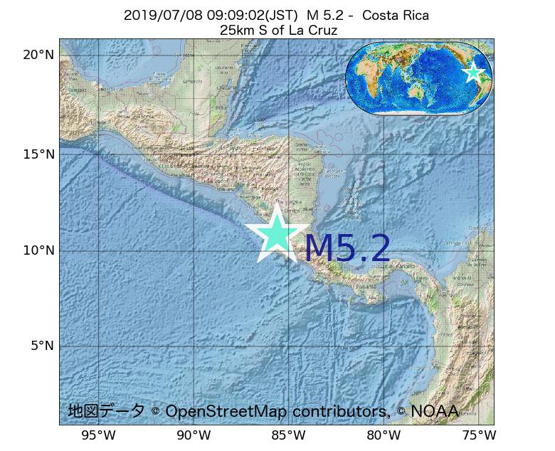 2019年07月08日 09時09分 - コスタリカでM5.2