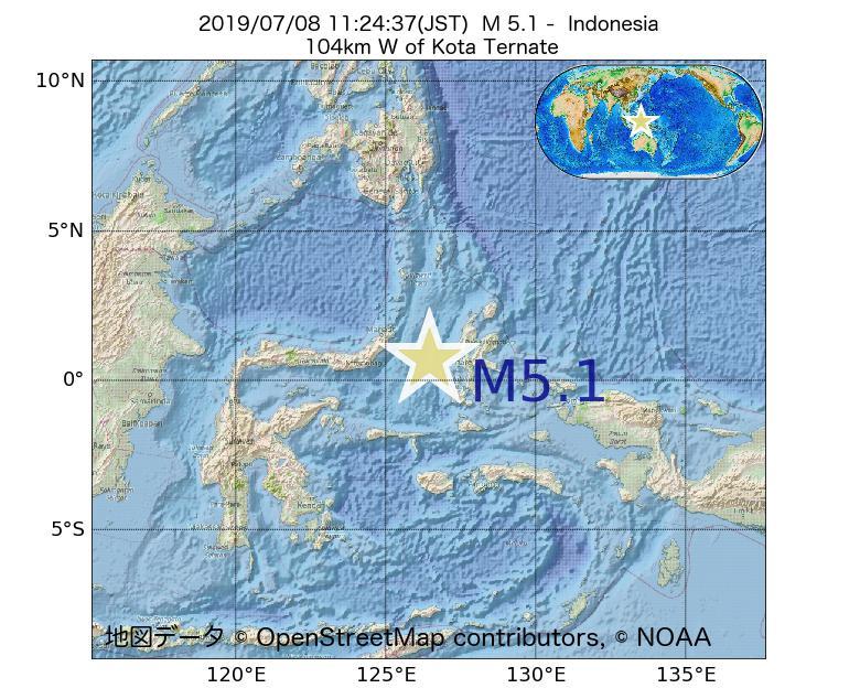 2019年07月08日 11時24分 - インドネシアでM5.1
