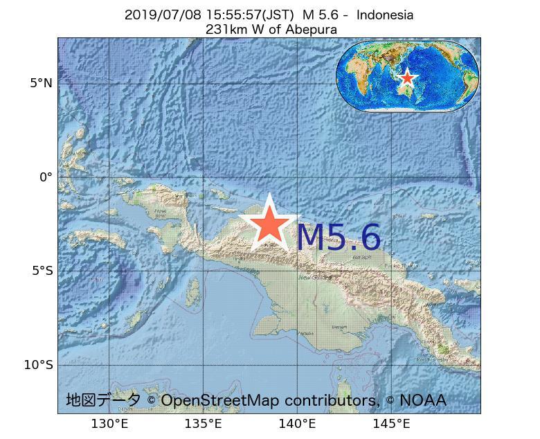 2019年07月08日 15時55分 - インドネシアでM5.6