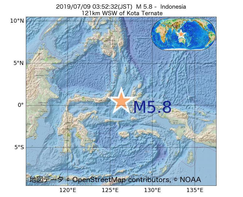 2019年07月09日 03時52分 - インドネシアでM5.8