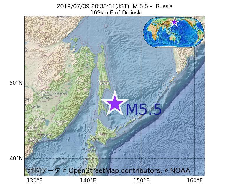 2019年07月09日 20時33分 - ロシアでM5.5