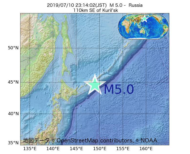 2019年07月10日 23時14分 - ロシアでM5.0