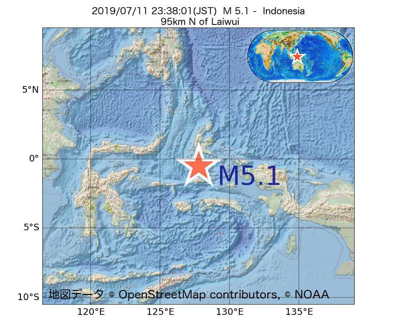 2019年07月11日 23時38分 - インドネシアでM5.1
