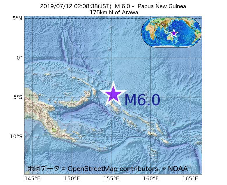 2019年07月12日 02時08分 - パプアニューギニアでM6.0