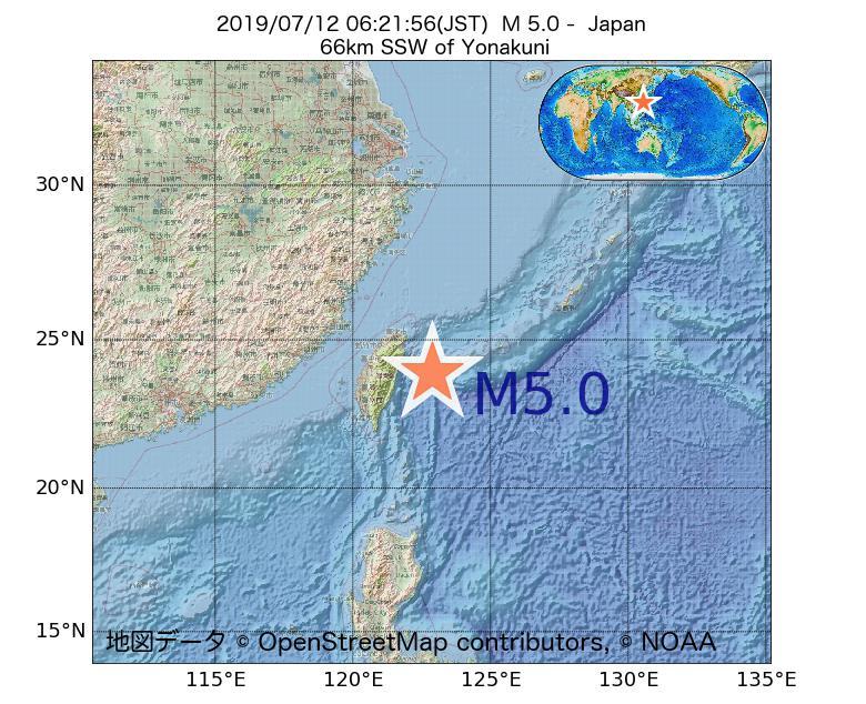 2019年07月12日 06時21分 - 日本でM5.0