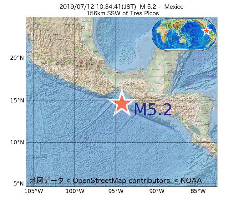 2019年07月12日 10時34分 - メキシコでM5.2