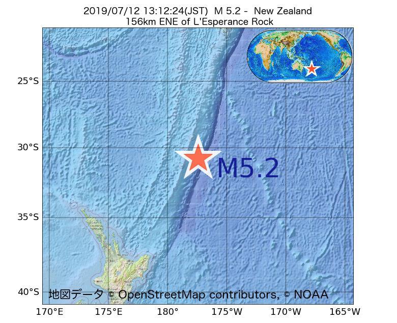 2019年07月12日 13時12分 - ニュージーランドでM5.2