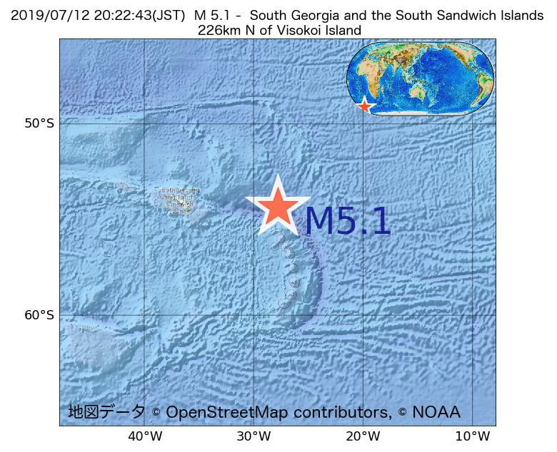 2019年07月12日 20時22分 - サウスサンドウィッチ諸島付近でM5.1