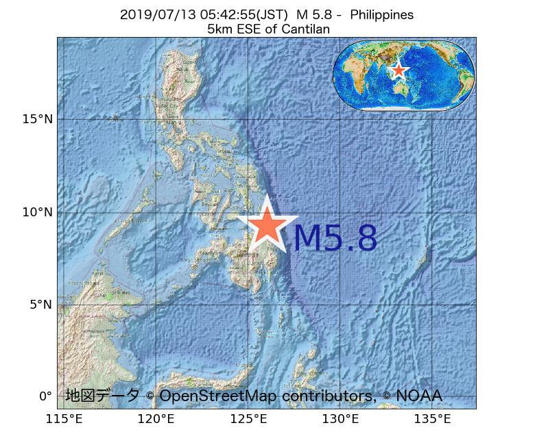 2019年07月13日 05時42分 - フィリピンでM5.8