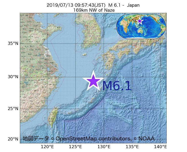2019年07月13日 09時57分 - 日本でM6.1