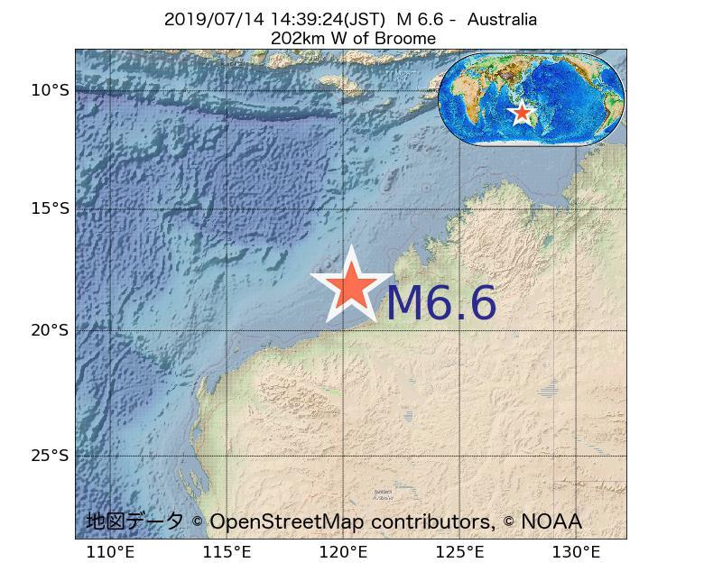 2019年07月14日 14時39分 - オーストラリアでM6.6
