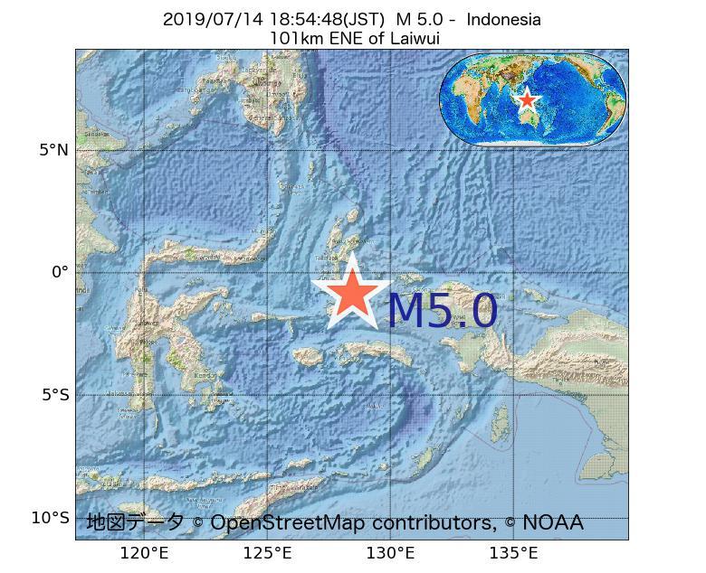 2019年07月14日 18時54分 - インドネシアでM5.0