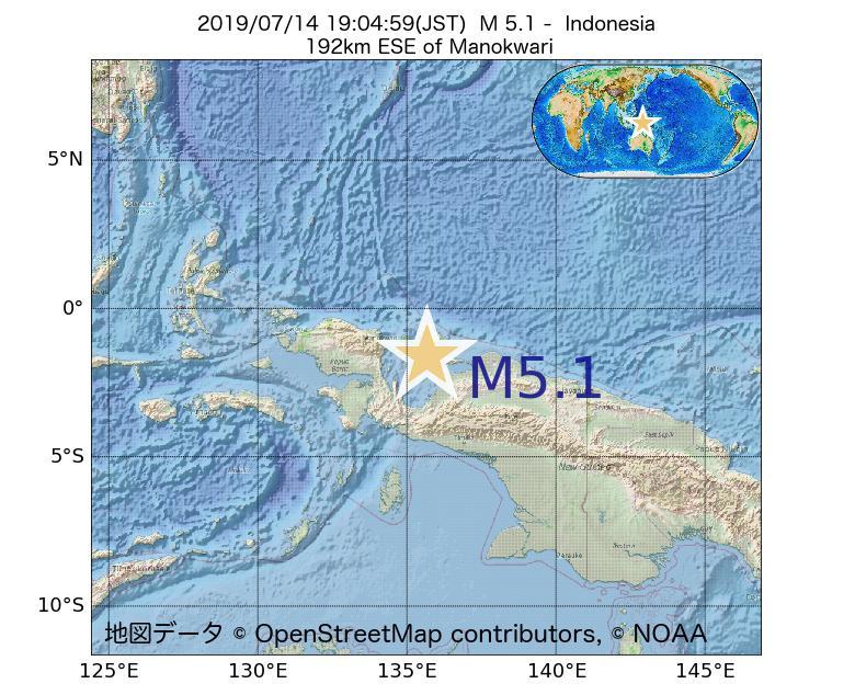 2019年07月14日 19時04分 - インドネシアでM5.1