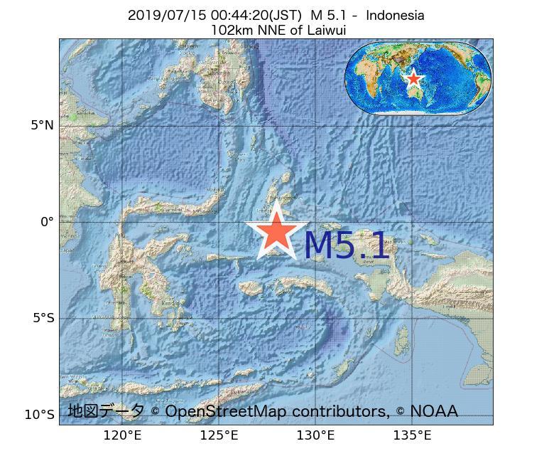 2019年07月15日 00時44分 - インドネシアでM5.1