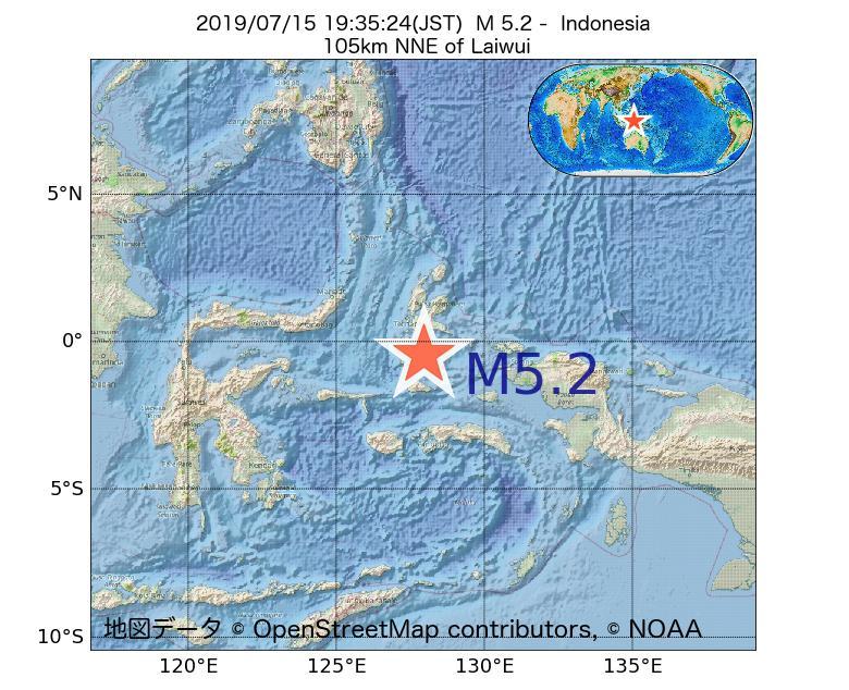 2019年07月15日 19時35分 - インドネシアでM5.2