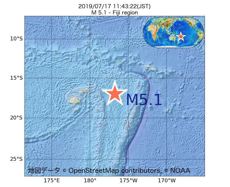 2019年07月17日 11時43分 - フィジー近海でM5.1
