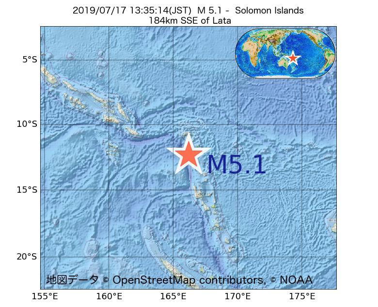 2019年07月17日 13時35分 - ソロモン諸島でM5.1