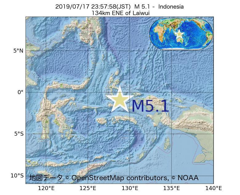 2019年07月17日 23時57分 - インドネシアでM5.1