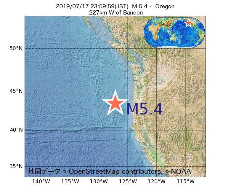 2019年07月17日 23時59分 - オレゴン州でM5.4