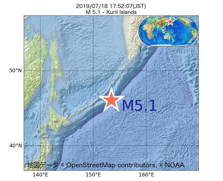 2019年07月18日 17時52分 - 千島列島でM5.1
