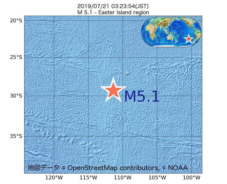 2019年07月21日 03時23分 - イースター島海域でM5.1