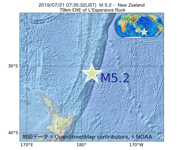 2019年07月21日 07時35分 - ニュージーランドでM5.2