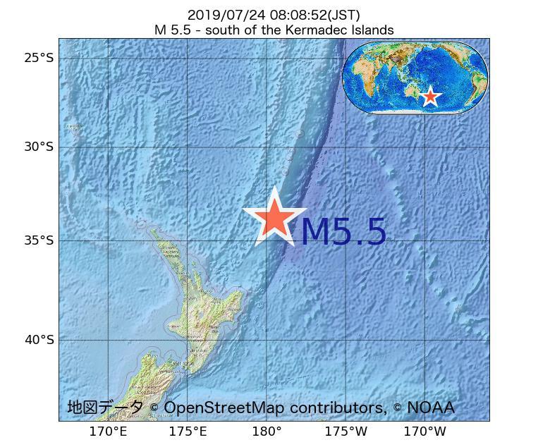 2019年07月24日 08時08分 - ケルマディック諸島の南でM5.5