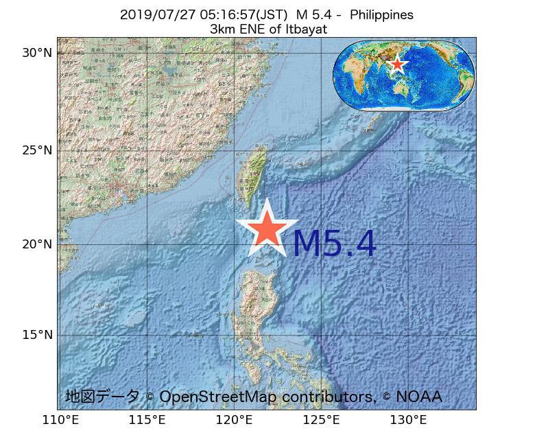 2019年07月27日 05時16分 - フィリピンでM5.4