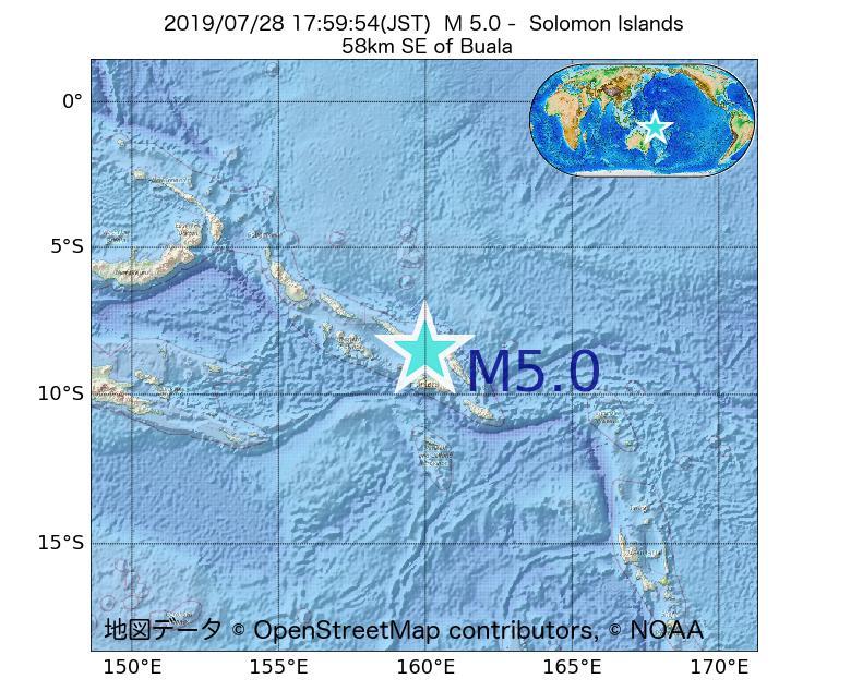 2019年07月28日 17時59分 - ソロモン諸島でM5.0