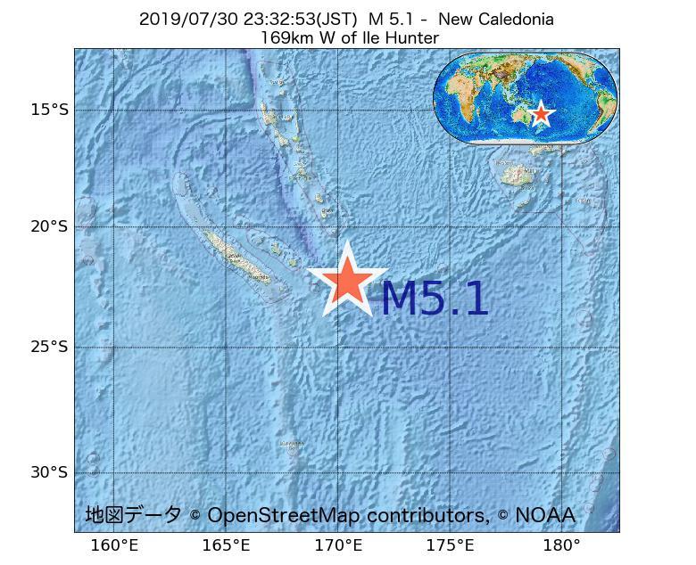 2019年07月30日 23時32分 - ニューカレドニアでM5.1