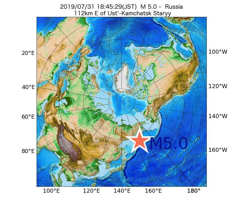2019年07月31日 18時45分 - ロシアでM5.0