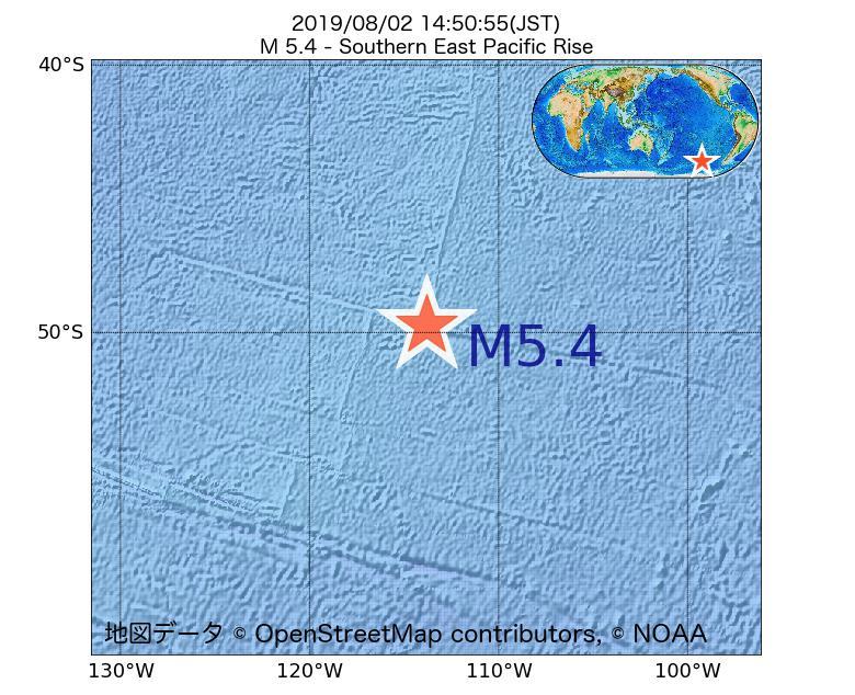 2019年08月02日 14時50分 - 東太平洋海嶺南方でM5.4