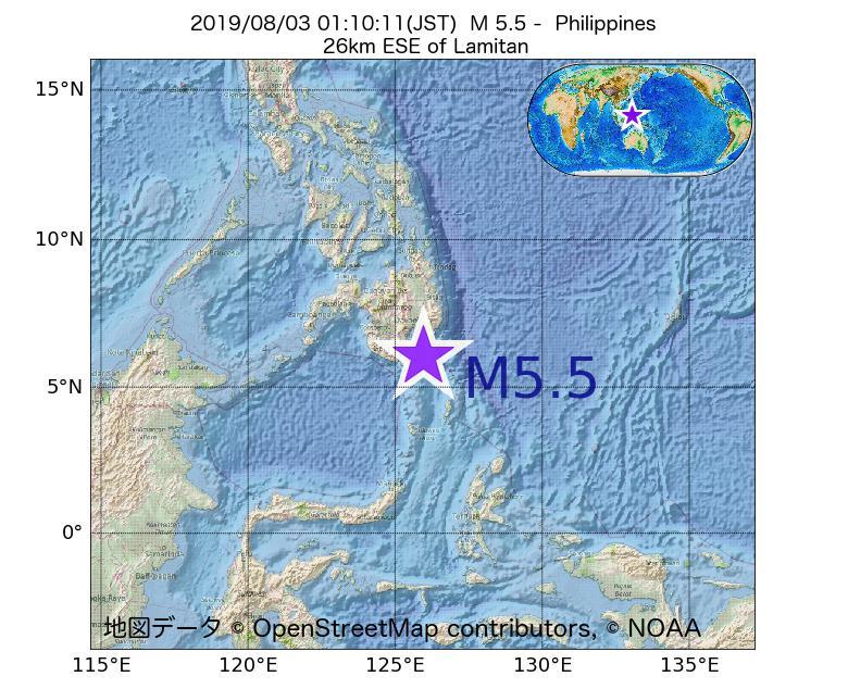 2019年08月03日 01時10分 - フィリピンでM5.5