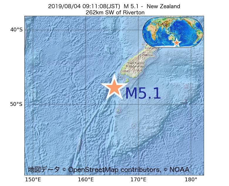 2019年08月04日 09時11分 - ニュージーランドでM5.1