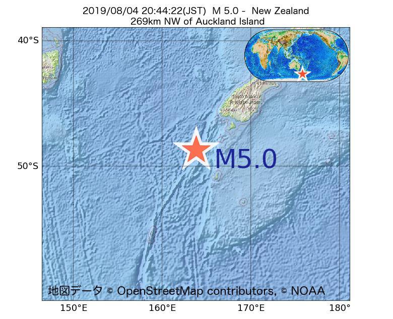 2019年08月04日 20時44分 - ニュージーランドでM5.0