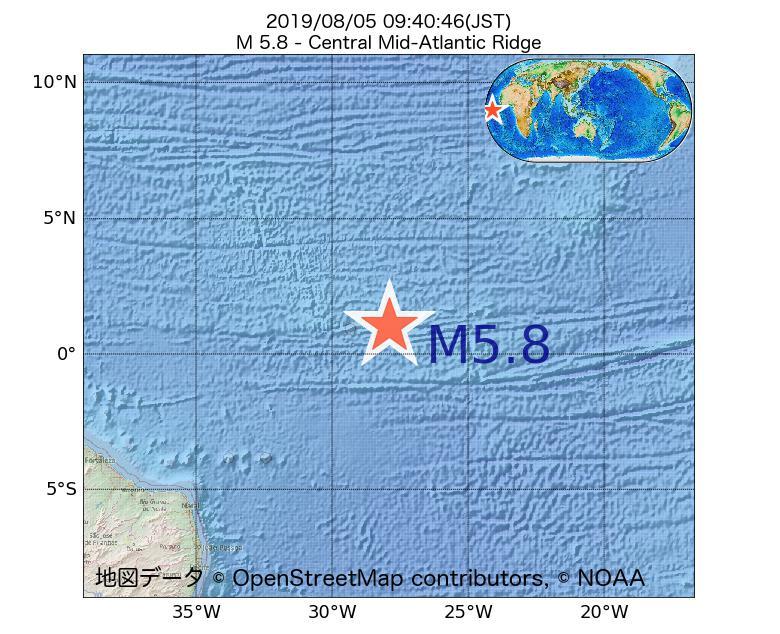 2019年08月05日 09時40分 - 大西洋中央海嶺でM5.8