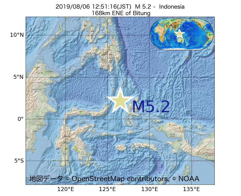 2019年08月06日 12時51分 - インドネシアでM5.2