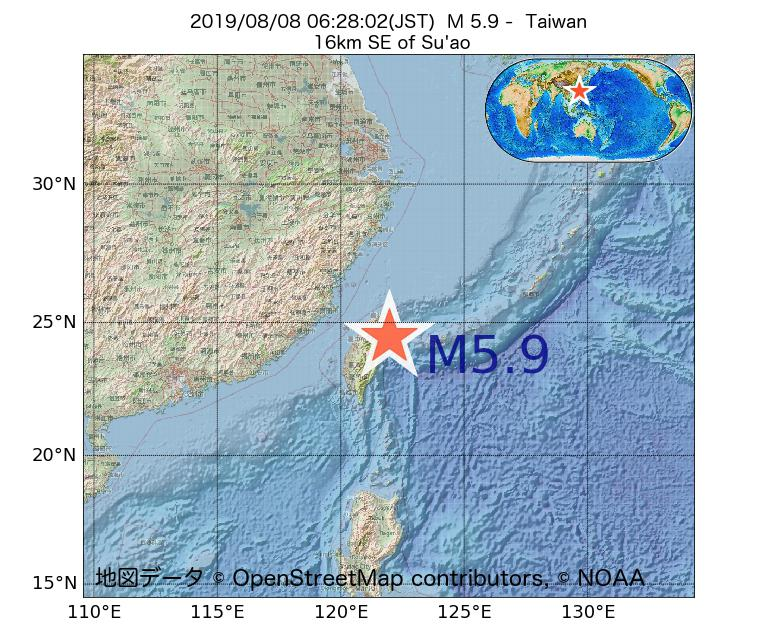 2019年08月08日 06時28分 - 台湾でM5.9
